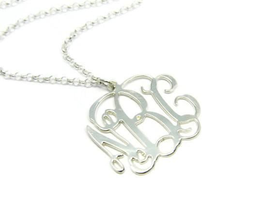 """2"""" Silver monogram necklace. Sterling silver monogram necklace. Initial monogram necklace. Silver initial necklace. Initial jewelry. Gifts"""