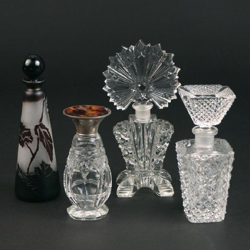 Lot: (4pc) MISC. PERFUME BOTTLES, Lot Number: 0200C, Starting Bid: $120, Auctioneer: Butterscotch Auction Gallery LLC, Auction: November 2017 Estate Auction, Date: November 5th, 2017 EST