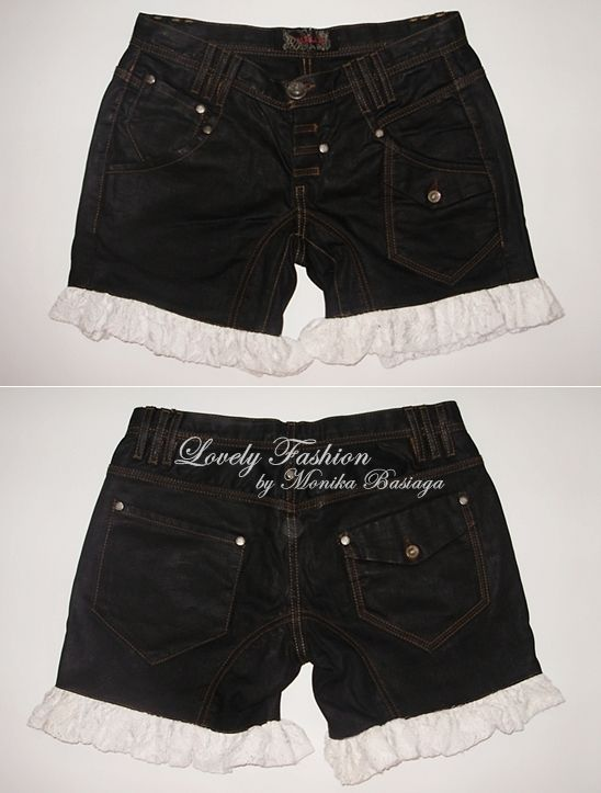 denim shorts with lace trouser-legs