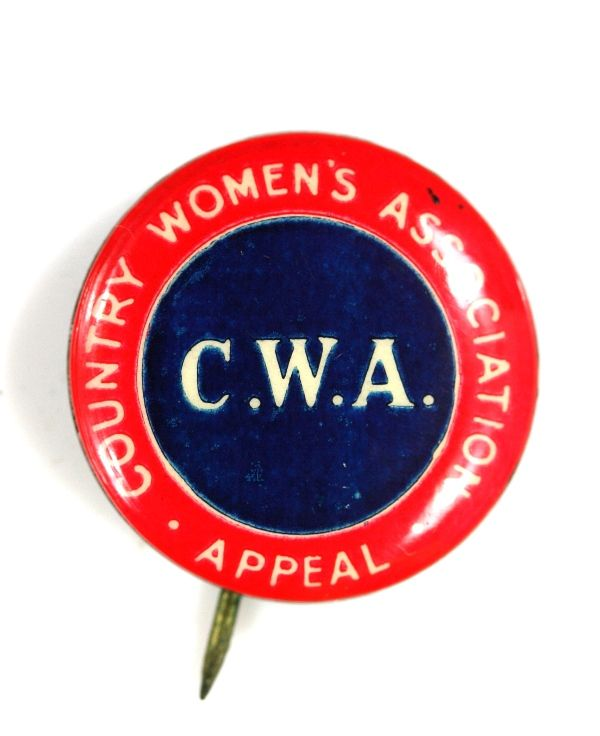 CWA Country Women's Association vintage Australian tin pin • Australian culture • CWA country women's association Australia