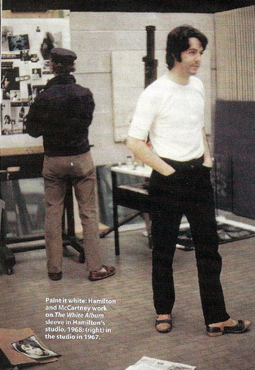 Richard Hamilton and Paul McCartney work on the poster collage included in The Beatles - The White Album, 1968.