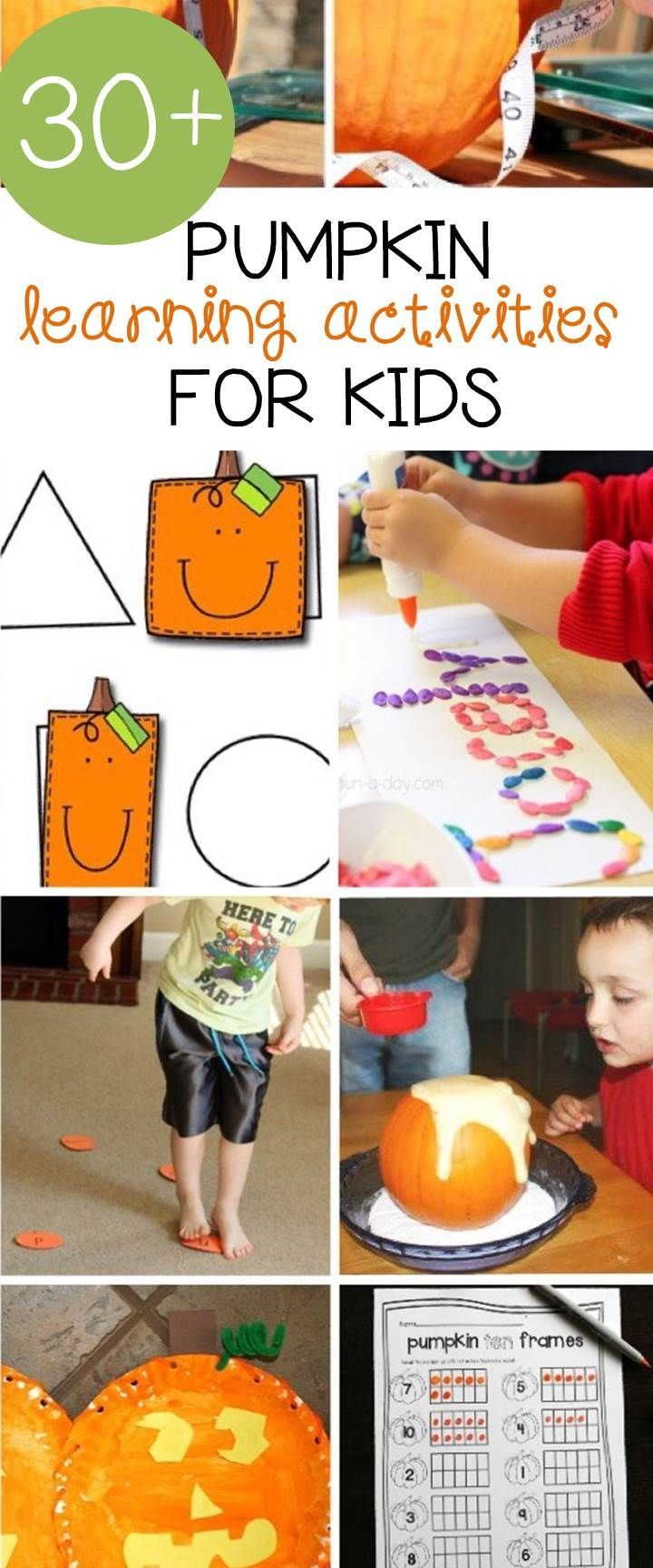 Over 30 awesome pumpkin activities for kids to try out this fall in your classroom or home. Perfect for preschool, kindergarten, and 1st grade.