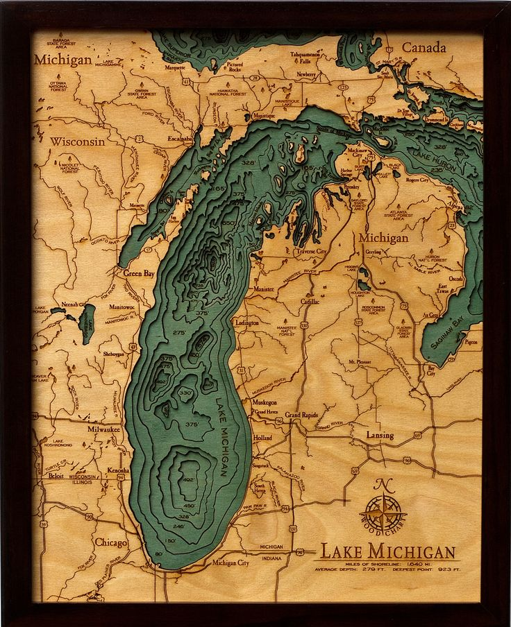 Wood Chart of Lake Michigan Michigan Wisconsin