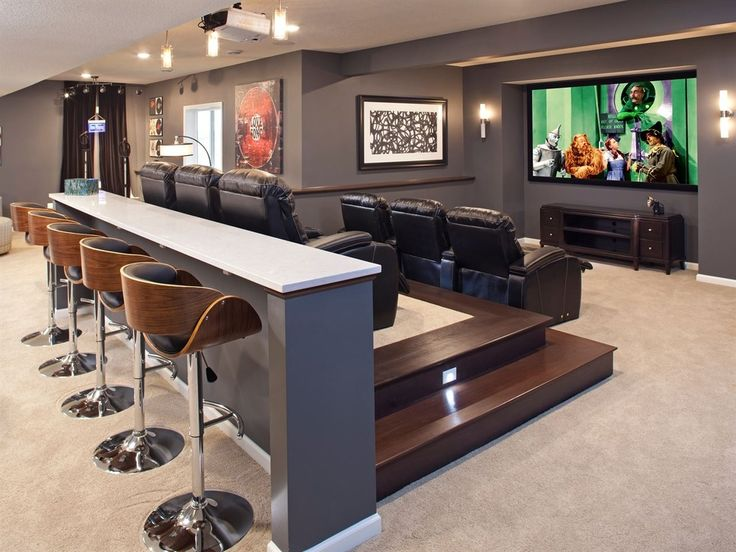 Contemporary basement man cave