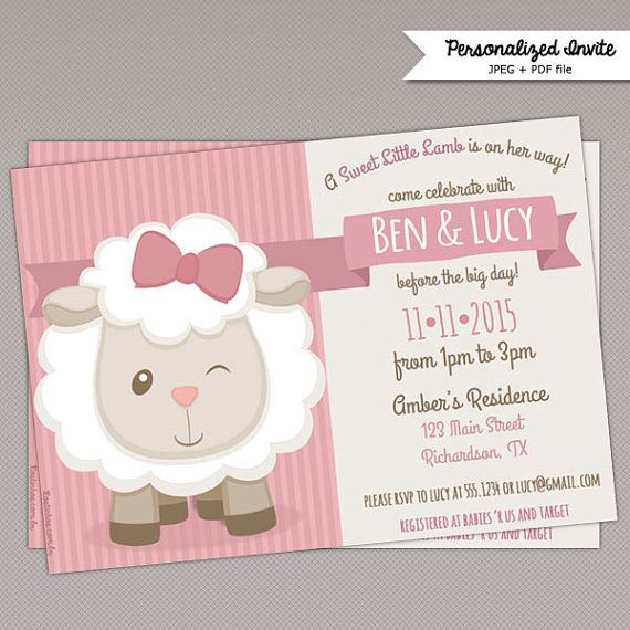 Cute Little Lamb Baby Shower Invitation  432 by PNArt on Etsy