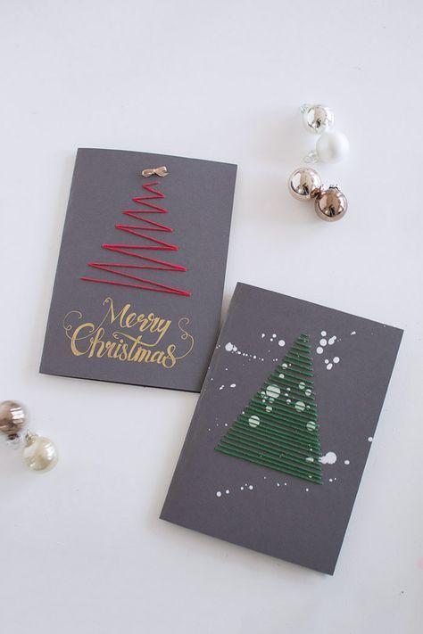 Weihnachtskarten besticken mit Christbaum rot und grün Merry Christmas Handlettering