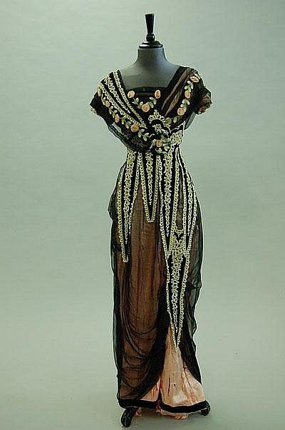 Evening Dress - c. 1912 - Black Chiffon over Rose Silk - @~ Mlle