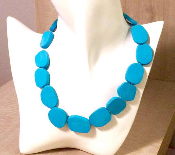 Turquoise Clay Bead Necklace - Handmade necklace - turquoise necklace - Blue necklace - Polymer clay necklace by AnisasClayCreations on Etsy https://www.etsy.com/ca/listing/522688052/turquoise-clay-bead-necklace-handmade