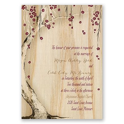 cherry blossom wedding invitation printed on real wood. change it to your colors too!