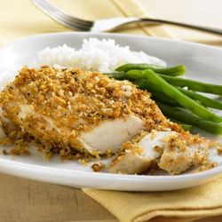 Lemon-Garlic Chicken... Try this new twist on chicken breast with a lemon-garlic flavored crumb topping that the whole family will love