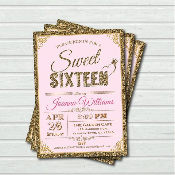 Pink and Gold Sweet Sixteen Invitation. Sequin sweet by CrazyLime