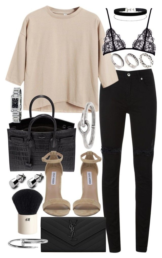 """""""Untitled #20205"""" by florencia95 ❤ liked on Polyvore featuring McQ by Alexander McQueen, Chicnova Fashion, Yves Saint Laurent, Steve Madden, ASOS, Acne Studios, H&M, Burberry and Miss Selfridge"""