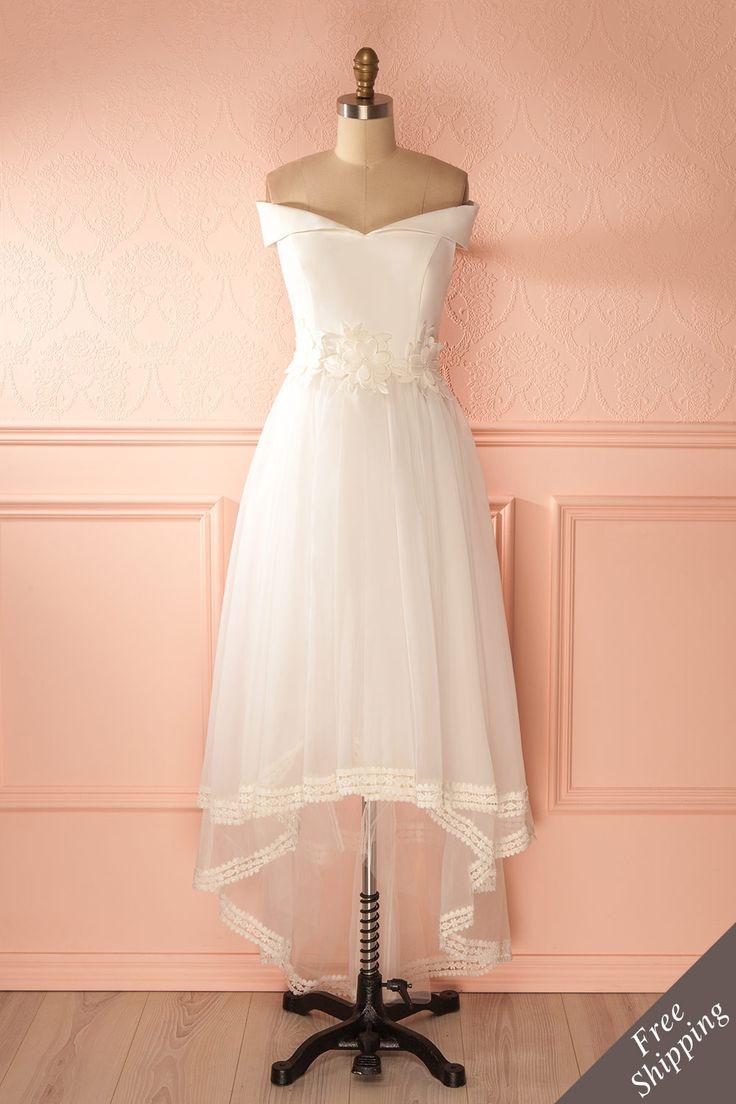 Janae Clair - White organza high-low gown www.1861.ca