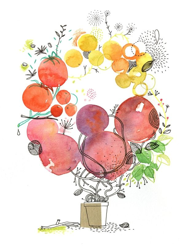 fruits, aquarelle, Cécile Hudrisier