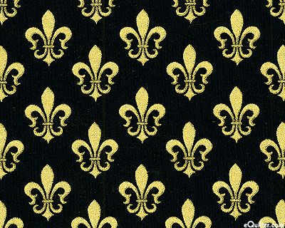 """Gilded Fleur-de-lis - Black/Gold--Fleur-de-lis are about 1"""", with gold metallic, from Timeless Treasures."""