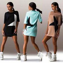 Женщины свободного покроя печать звезда полурукав платья мода Clubwear спортивный стиль черный мини платье(China (Mainland))