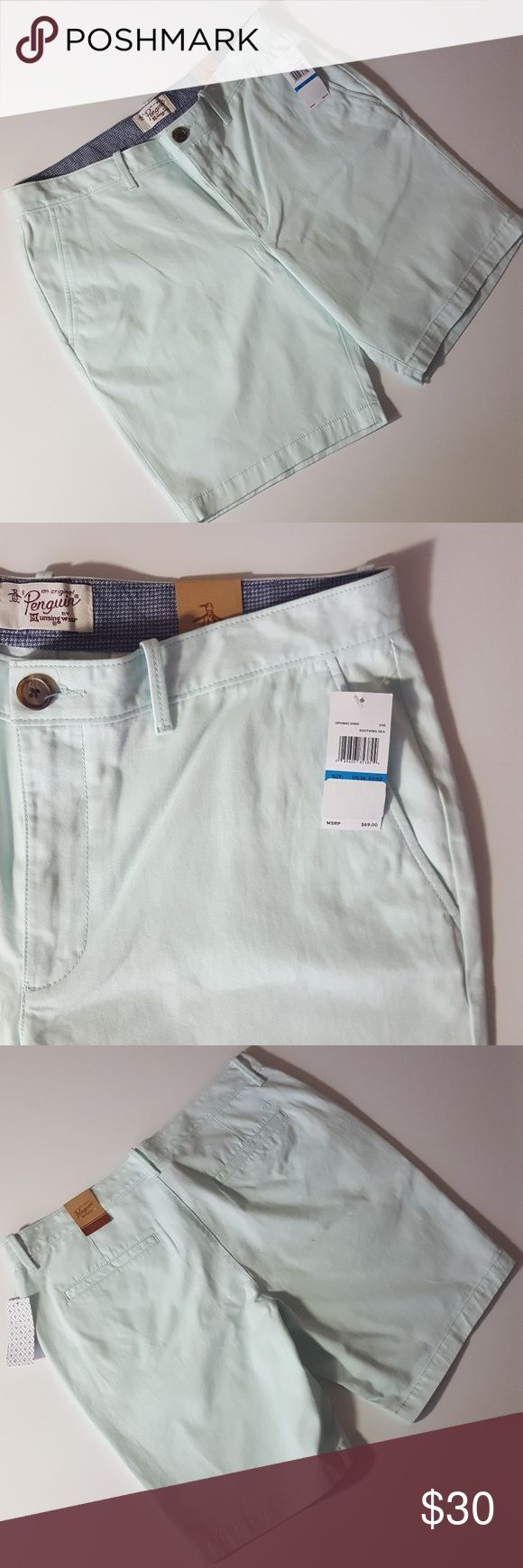 ♂ NWT ORIGINAL PENGUIN mens mint green shorts ✔ 100% authentic  ✔ Brand new and never worn  ✔ Original $69 MSRP tags attached   Check out my other Nike, Diesel, Under Armor, Ralph Lauren, Burberry, J Crew, Brooks Brothers, Cole Haan, Lacoste, and Sperry items. Original Penguin Shorts Flat Front