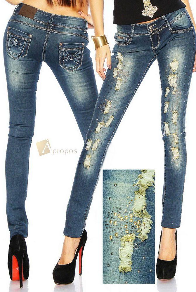 Luxus Jeans Destroyed Frayed Ripped Nieten Extravagant Elegant Denim Blau Italy