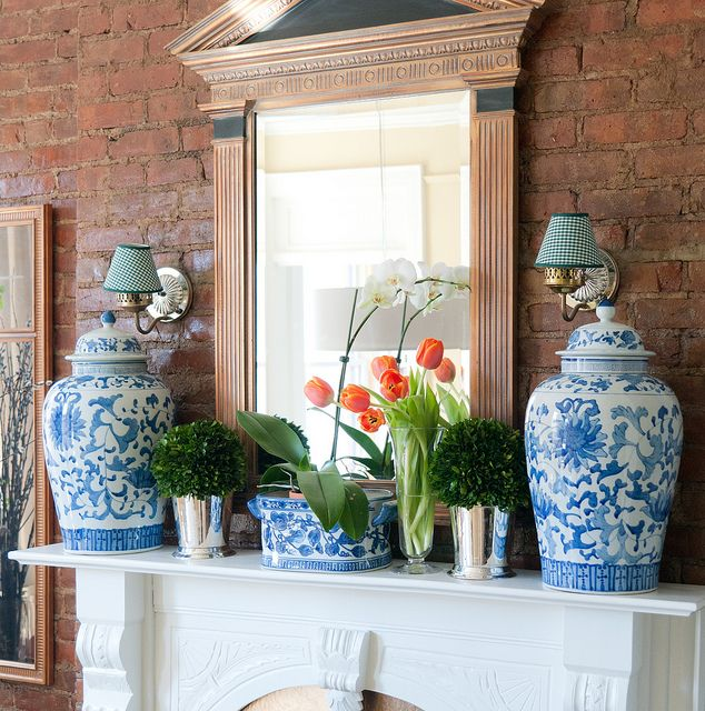 Blue White Jar Part - 47: A Pair Of Ginger Jars Is A Classic Compliment For A Fireplace, Whether On  The Floor Or On The Mantle. These Blue And White Jars Look Great With The  Exposed ...