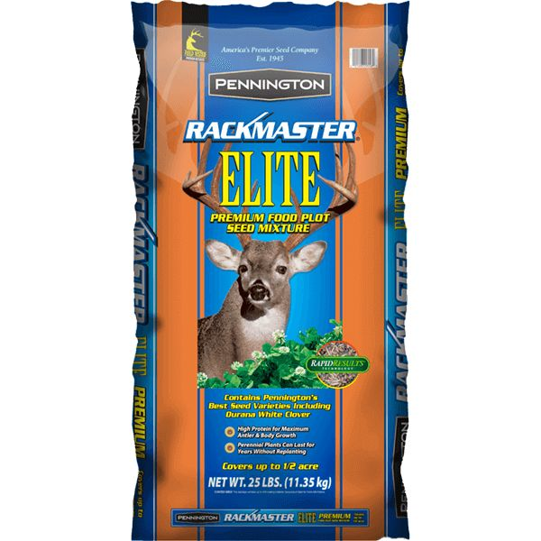 RACKMASTER Elite food plot seed mixture is formulated for hunters who are serious about increasing body and antler mass, maximizing the growth of developing fawns and improving the health of the entire whitetail deer herd. This blend of winter annual grasses with perennial forbs and legumes provides year-round nutrition for multiple years without replanting.