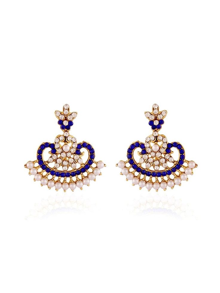 Captivating gold plated brass metal #Earrings with stones, pearls work. item Code: JRUM533 http://www.bharatplaza.com/new-arrivals/jewellery.html