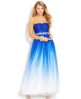 b darlin juniors' strapless blue ombre gown  macys