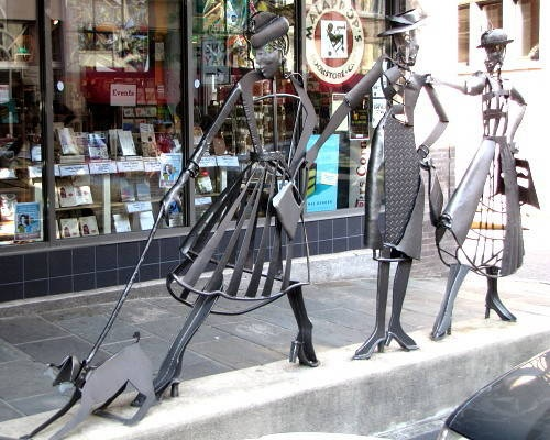 'Shopping Daze' sculpture in downtown Asheville in front of Malaprops bookstore on Haywood ... have a picture opp