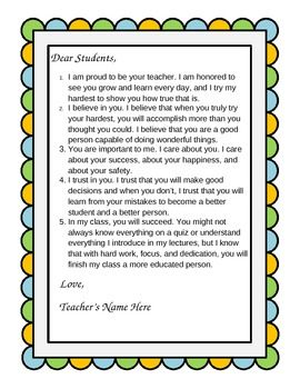 """Dear Students"" - A Customizable Beginning-of-the-Year Letter to Your Class"