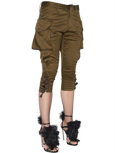 DSQUARED2 - STRETCH twill di cotone Cargo Pants - Pantaloni - verde militare - LUISAVIAROMA