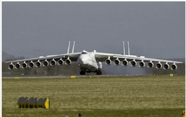 No Such thing. Read the Blog, , see the Red circle in the original Picture. This was a Photoshop Mod of an AN-225.  A 6 engine Twin Tail Cargo plane. not an 18 engine, Quad Tail plane.