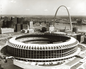 Busch Stadium and the Gateway Arch, 21 September 1967.