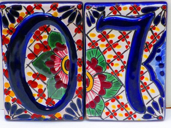 House Numbers, Spanish Tile, Colorful Tile, Home Decor, Mexican Hand painted Tiles. $14.50, via Etsy. Housewarming!