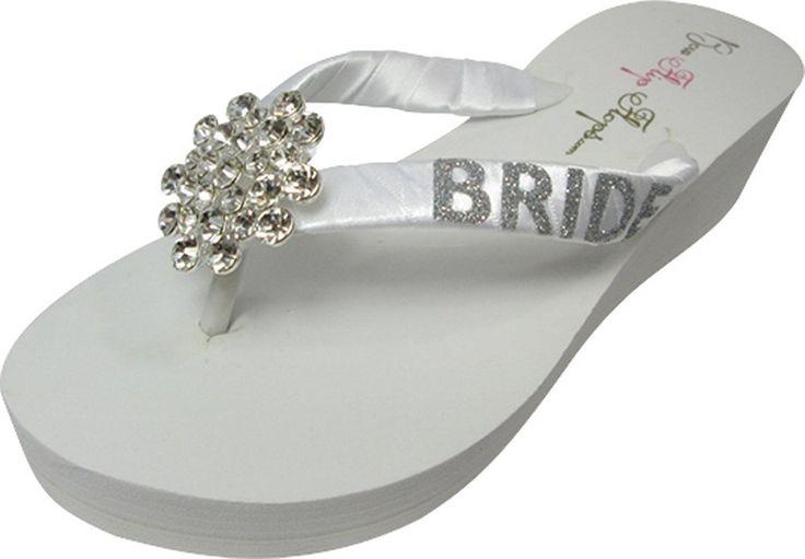 Bridal Jewel Flip Flops with Bride Glitter Bling - Wedding Wedge Flip Flops-white /ivory