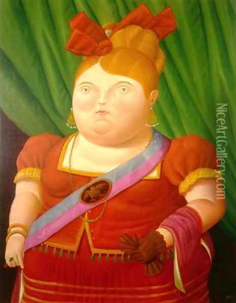 The First Lady La Primera Dama oil painting reproduction by Fernando Botero - NiceArtGallery.com