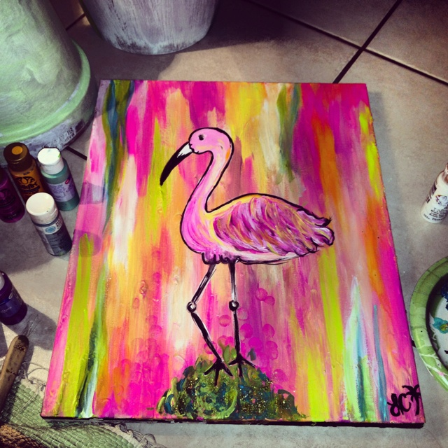 My flamingo painting :))))) | Things by me. | Pinterest ...