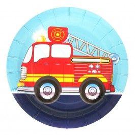 Fire Truck Party Supplies, Fire Truck Dessert Plates, Tableware