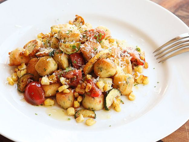 Parisian Gnocchi With Roasted Cherry Tomatoes, Corn, and Zucchini