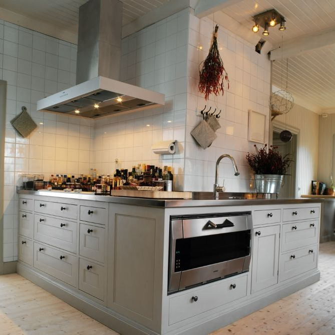 Hand painted kitchen units with stainless steel worktops