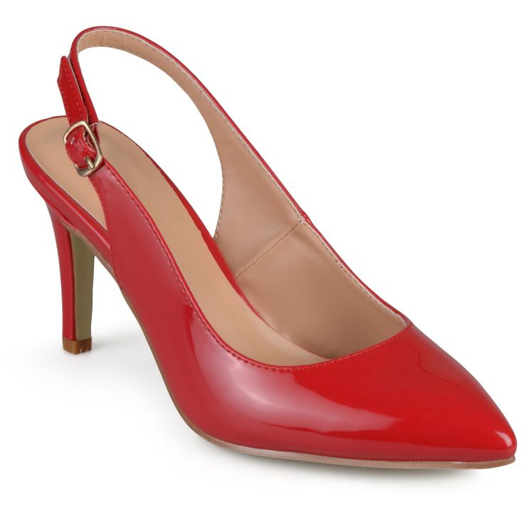 Women's Journee Collection Carol Almond Toe Slingback Pumps - Red 7.5