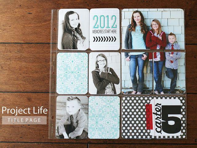 project life ideas - j'aime la photo coupée et glissée dans 3 pochettes