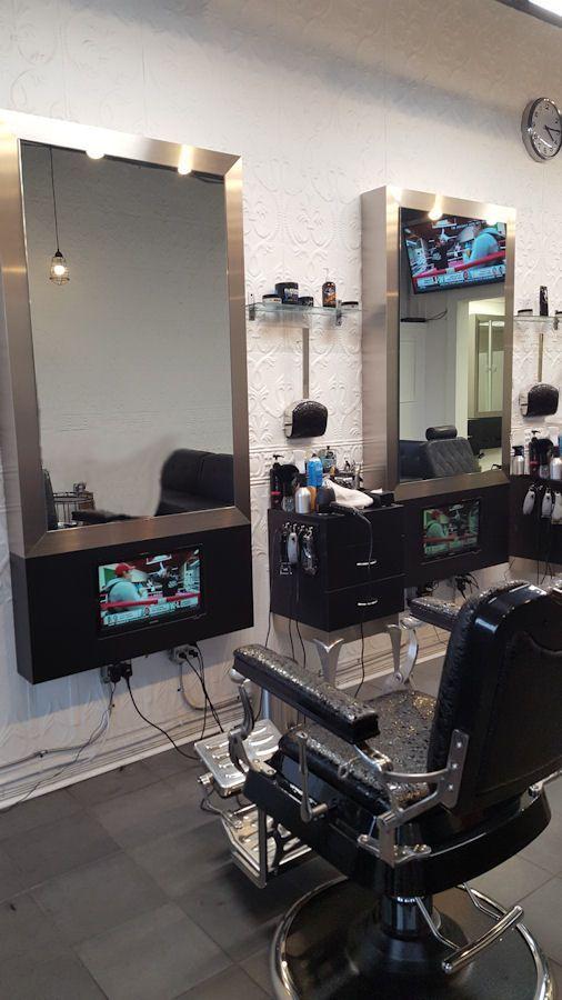 the shave bar barber shop in station television by salon interiors barbershop designbarbershop ideassalon - Barbershop Design Ideas