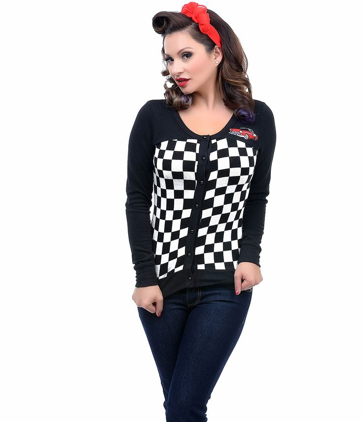 Black & White Racing Checkers Hot Rod Embroidered 1950s Cardigan #uniquevintage