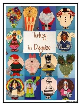 This is one of my ALL-TIME favorite student activities!  This packet includes:-a letter (written by Mr. Turkey) to send home to parents-a template of Mr. Turkey to print and copy for each student-page of photographs of previously disguised turkeys to print or email-ideas for turkey disguises-paper for extending the project into a drawing/writing activity.