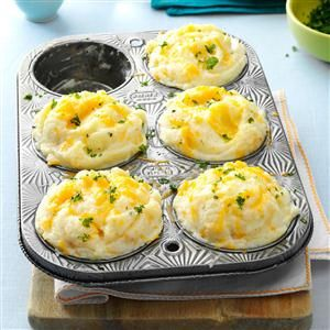 Mashed Potato Cups Recipe -This recipe makes a tasty side dish that's a nice alternative to the standard potatoes or rice. —Jill Hancock, Nashua, New Hampshire