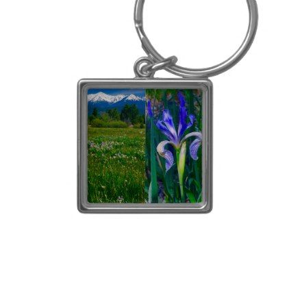 Elk Horn and Iris Key Chain - flowers floral flower design unique style