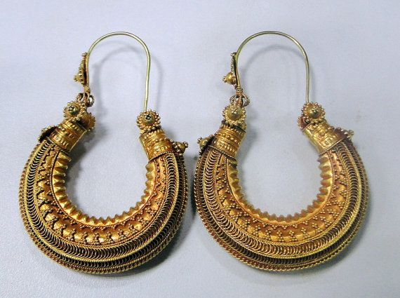 Tribal old antique solid 18K gold hoop earrings by TRIBALEXPORT, $5299.00