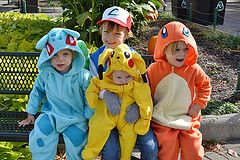 DIY Pokemon costumes for kids! Ash Ketchum, Charmander, Bulbasaur, Pikachu.