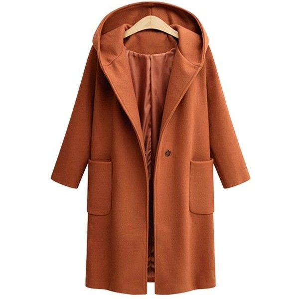 Sugar Honey 4xl Plus Size One Button Front Pockets Hooded Coat ($29) ❤ liked on Polyvore featuring outerwear, coats, gamiss, brown coat, plus size coats, hooded coat, womens plus coats and women's plus size coats