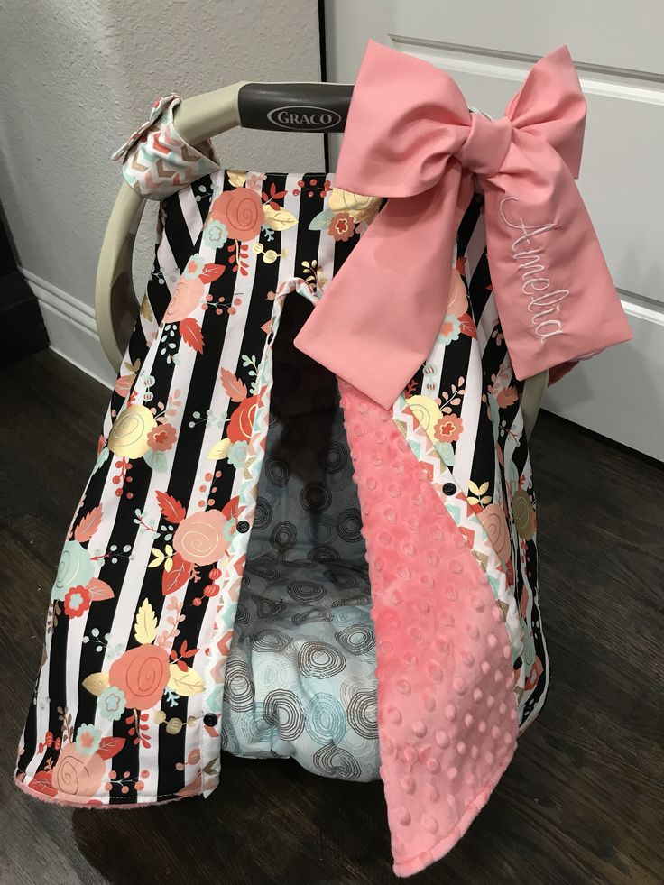 MOD Super Cute Baby Car Seat Covers – Black Stripe – Peach, Coral, Mint, Gold Flowers, Coral Minky – Bow Option – Baby Girl – Shower Gift