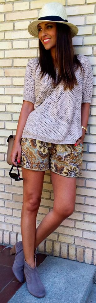 Alejandra Montaner Brown Loose Embroidered Shorts by Tras La Pista De Paula